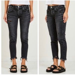 MOUSSY Kelley Distressed Tapered BLACK Jeans